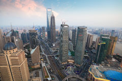 Aerial view of shanghai at dusk Royalty Free Stock Photo