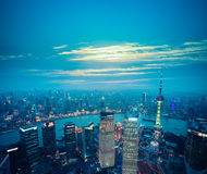 Aerial view of shanghai at dusk Stock Photo