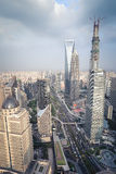 Aerial view of shanghai midtown Stock Photo