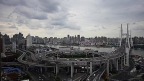 Aerial view of shanghai nanpu overpass traffic interchange. Aerial freeway busy city rush hour heavy traffic jam highway Shanghai china,nanpu overpass stock video footage