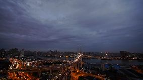 Aerial view of shanghai nanpu overpass traffic interchange at night,time lapse. stock footage