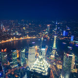 Aerial view of shanghai at night Stock Image