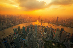 Aerial view of shanghai at night from jinmao building Royalty Free Stock Photo