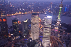 Aerial view of shanghai at night from jinmao building Royalty Free Stock Photography