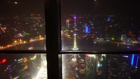 Aerial view of Shanghai night-scene from huanqiu sightseeing hall. stock video