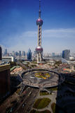 Aerial view of Shanghai Oriental Pearl Tower Royalty Free Stock Images