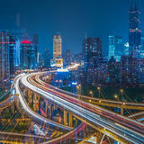 Aerial View of Shanghai overpass at Night Stock Images