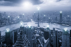 Aerial view of Shanghai skyline with Wifi network connection Royalty Free Stock Photo