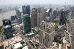 Aerial view at Shanghai skyscraper, China. Aerial view at Shanghai skyscraper Royalty Free Stock Images