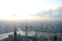 Aerial view of shanghai in sunset Royalty Free Stock Photo