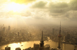 Aerial view of shanghai  in sunset Royalty Free Stock Photography