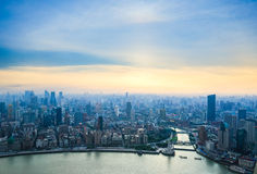 Aerial view of shanghai in sunset Royalty Free Stock Image
