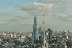 Aerial view of the Shard and south east London in late October. Viewed from the London Eye stock photos