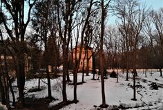 Tower in sanatorium park with palace in Nemyriv, Vinnytsya region, Ukraine. Aerial view shcherbatova countess palace sanatorium park nemyriv  vinnytsya region royalty free stock images