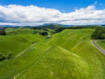 Aerial view sheep farm hill, Rotorua, New Zealand. Aerial view of beautiful sheep farm meadows of green grass on rolling hills in Rotorua, New Zealand North Royalty Free Stock Photography