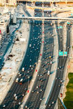 Aerial view of Sheikh Zayed highway road in Dubai with traffic in the evening Royalty Free Stock Photography