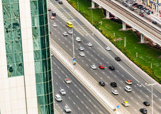 Aerial view of Sheikh Zayed highway road in Dubai Royalty Free Stock Photos