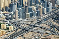 Aerial view of Sheikh Zayeg road interchange and buidings, United Arab Emirates stock photos