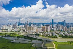 Aerial view of Shenzhen CBD in China. Shenzhen, China - Jun 6, 2019: Aerial view of Shenzhen CBD in China. It is the leading global technology hub and one of the stock images