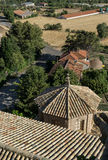 Aerial view of Shingle roof tile  chapel and Church  San Esteban built in the 18th century the village  Loarre Ara Stock Image