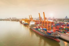 Aerial view of ship containers at shipping port for international import or export logistics or transportation business concept. Background stock image