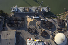 Aerial view of ship docked. In port loading and unloading Stock Photography