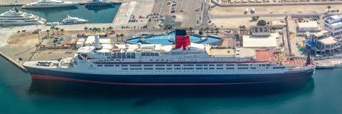 Aerial view of ship Queen ELizabeth 2 in the port of Dubai, UAE stock photos