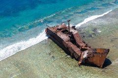 Aerial view of the shipwreck site of MV Ever Prosperity ship, Monrovia, Liberia. Coral sea, New Caledonia, Oceania. stock images