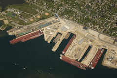 Aerial view of shipyard. Aerial view of the Sturgeon Bay shipyards and dry docks. Numerous great lakes ore boats are visible Stock Images