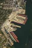 Aerial view of shipyard. Aerial view of the Sturgeon Bay shipyards and dry docks. Numerous great lakes ore boats are visible Royalty Free Stock Photos