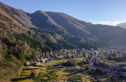 Shirakawa-go Historic Village in Gifu, Japan. Aerial view of Shirakawa-go Historic Village with mountains in Gifu, Japan royalty free stock photography
