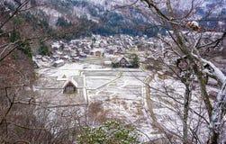 Shirakawago Historic Village in Gifu, Japan. Aerial view of Shirakawa-go Historic Village at winter in Gifu, Japan Royalty Free Stock Images