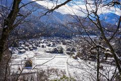 Shirakawago Historic Village in Gifu, Japan. Aerial view of Shirakawago Village at winter in Gifu, Japan. Shirakawago is a quiet mountain village with rice Royalty Free Stock Photo