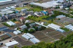 Aerial view of Shizuoka strawberry farms. Japan. Aerial view of greenhouses of strawberry farms along Pacific coast. Shizuoka, Japan Royalty Free Stock Photos