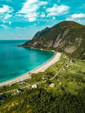 Aerial View of Shore Beside Green Mountains stock photos