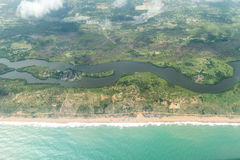 Aerial view of the shores of Cotonou, Benin. Aerial view of the Atlantic Ocean coastline along the shores of Cotonou, Benin stock images