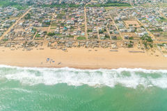 Aerial view of the shores of Cotonou, Benin. Aerial view of the Atlantic Ocean coastline along the shores of Cotonou, Benin royalty free stock photography