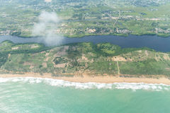 Aerial view of the shores of Cotonou, Benin. Aerial view of the Atlantic Ocean coastline along the shores of Cotonou, Benin stock photography