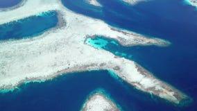 Aerial View of Coral Reefs in Raja Ampat. An aerial view shows vast coral reef growing in the Dampier Strait of Raja Ampat, Indonesia. This remote region is stock video footage