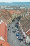 Aerial view of Sibiu and a busy street. Aerial view of Sibiu in Transylvania, Romania and a busy street Stock Images