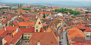 Aerial view of Sibiu city centre Stock Photography