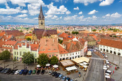 Aerial view of Sibiu old center Royalty Free Stock Photo