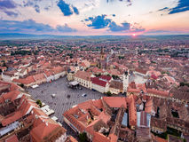 Aerial view of Sibiu, Romania, at sunset Royalty Free Stock Photography