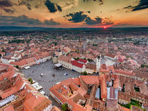 Aerial view of Sibiu Romania Royalty Free Stock Image