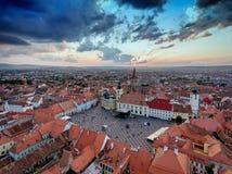 Aerial View of Sibiu at sunset in Transylvania, Rumania royalty free stock image