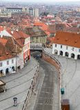 Aerial view of Sibiu and the bridge of lies. Aerial view of Sibiu in Transylvania, Romania and the bridge of lies Royalty Free Stock Photo