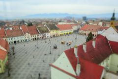 Aerial view of Sibiu and the big square. Aerial view of Sibiu in Transylvania, Romania and the ig square, miniature effect Stock Photography