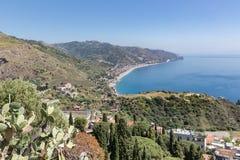 Aerial view Sicilian coast near Taormina in Italy Royalty Free Stock Photo