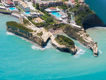 Aerial view on Sidari in Corfu Kerkyra Royalty Free Stock Photos