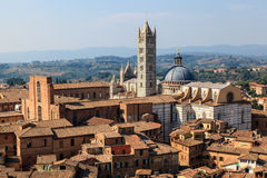 Aerial View on Siena and Santa Maria Cathedral Royalty Free Stock Photos